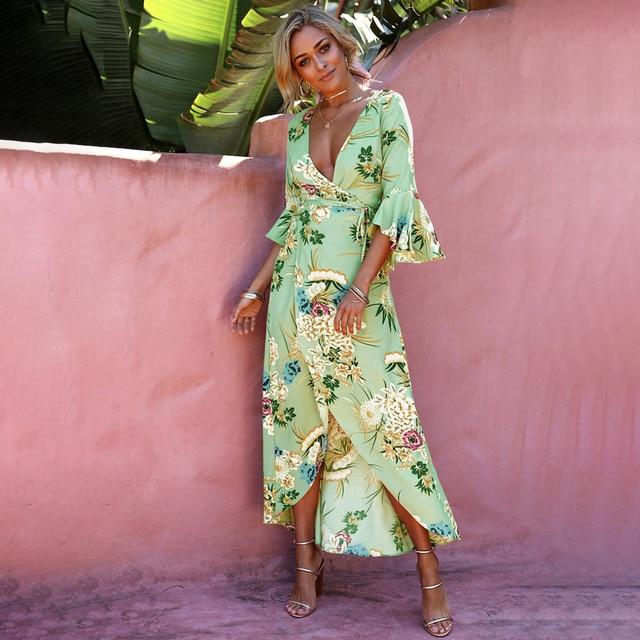 ea0609f8d6226 US $16.81 30% OFF|Sexy Floral Print Bohemian Long Summer Beach Dress Women  V Neck Flare Sleeve Boho Chic Dress 2018 Vintage Maxi Dresses Sundress-in  ...