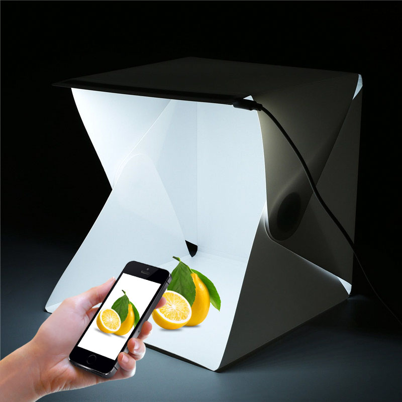 LED Mini Portable Folding lightbox Photography Photo Studio Softbox Lighting Kit Light box for iPhone Samsang Digital DSLR Camer ...