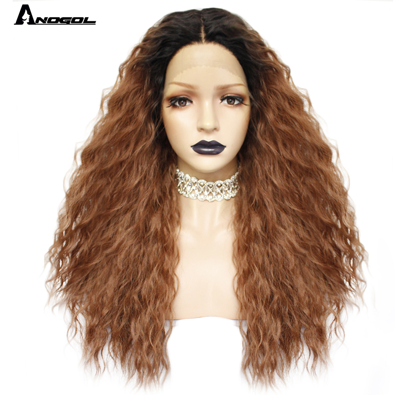 Anogol Long Kinky Curly Peruca Futura Fiber Hair Wigs Black Ombre Brown Synthetic Lace Front Wig