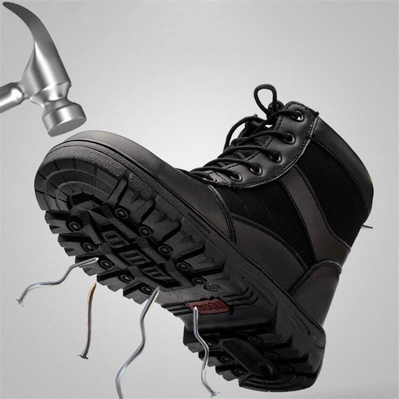 Armée Automne Travail Chaussures Embout D'acier Bottes Tactique Hommes Militaire Cheville À Noir Neige Hiver Sécurité Pour De Noir 2 Au a07wfnx1Sq