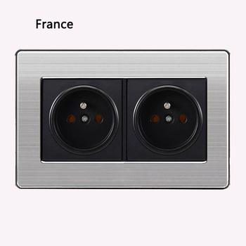 86 type 1 2 3 Gang 1 2 Way bright switch wall Socket with led brushed stainless steel switch French German UK electric socket 23