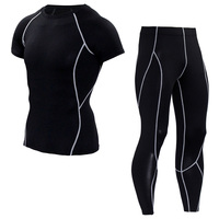 New Mens Compression T Shirt Pants Suits Tights Short Sleeve MMA T Shirt Leggings Sets Fitness