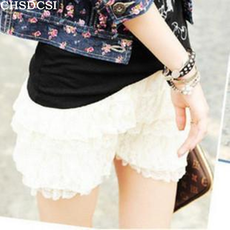 TheMogan Lovely Tiered Crochet Lace Stretch Waist Skort Shorts |Black Tiered Lace Shorts