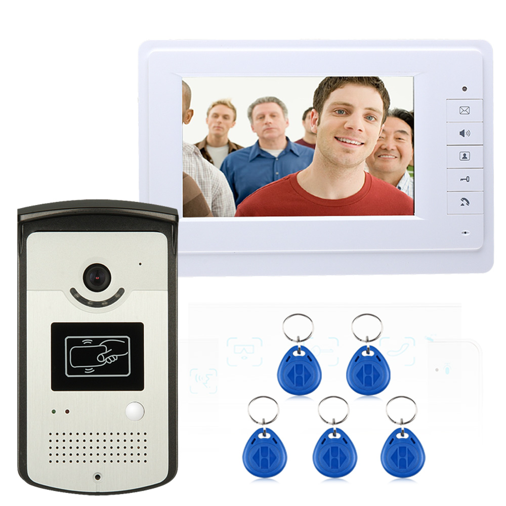 7 Inch TFT RFID Video Door Phone Doorbell Intercom Kit 1-camera 1-monitor Night Vision With HD 700TVL CCD Camera