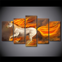 5 Pieces Running Fire Horse Canvas HD Prints Paintings For Living Room Home Decor Pictures Wall Art Cuadros Decoracion Salon