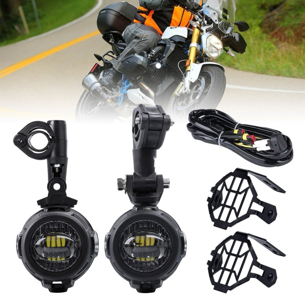 For BMW Motorcycle K1600 R1200G 40W LED Auxiliary Lamp 6500K Fog Driving Light Kits with Protect Guards Wiring Harness