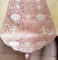Moderne Fancy Roze Damast Tafellopers Dining Beschermende Matten Placemats Lange Koffie Tafelkleed vlag Bruiloft Decoraties