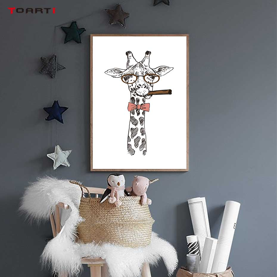 Image 5 - Cool Giraffe With Cigar Prints Posters Cartoon Animals Canvas Painting On The Wall For Kids Living Room Home Decor Art Pictures-in Painting & Calligraphy from Home & Garden