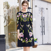 High Quality Fashion Runway Dress Women Designers Long Sleeve Pearls Beading Flower Embroidery Dress Elegant Black Party Dress