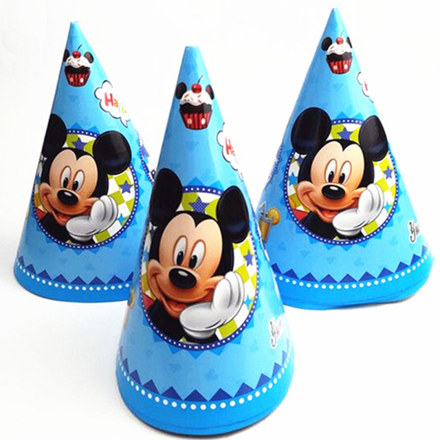 279d69f0f0d1f 6pcs Mickey Mouse Paper Birthday Hats Party Supplies Baby Shower Christmas  Festival Personalized Paper Kids Caps Decorations