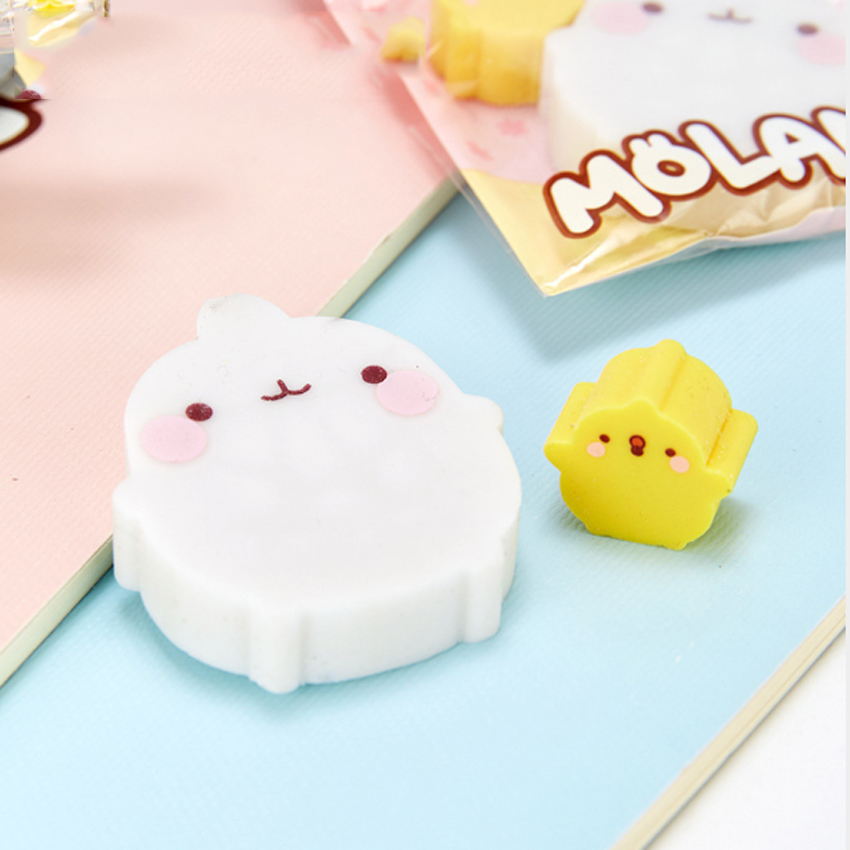 2pcs/lot Molang Rabbit Duck  Rubber Eraser Funny Student For Kids Stationery Student Gifts