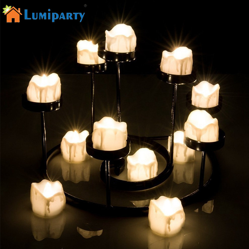 LumiParty 12pcs Flickering Flameless Candles Light Smokeless LED Tealights Battery Operated Electronic Timed Candles Lamp