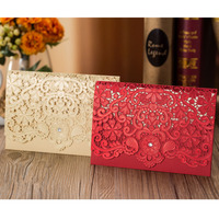 50pcs Gold Red Laser Cut Diamond Wedding Invitations Card Greeting Card Elegant Personalized Wedding Favor Event Party Supplies