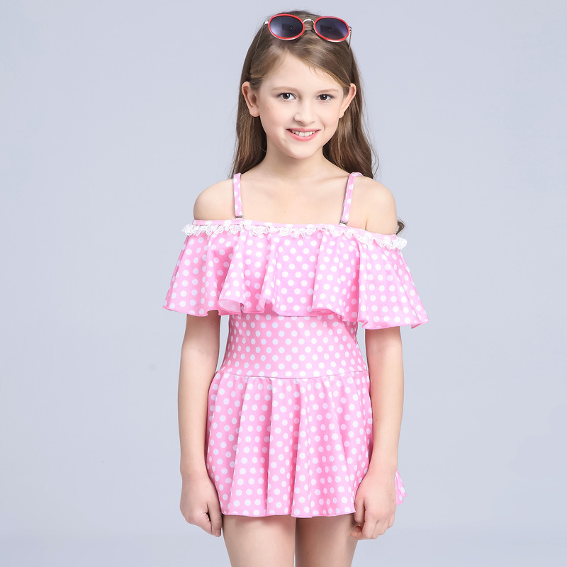 New Two Pieces Swimsuit Girl 2018 Plus Size Swimwear Dress Child Swimming Suit Beach Bathing -4077
