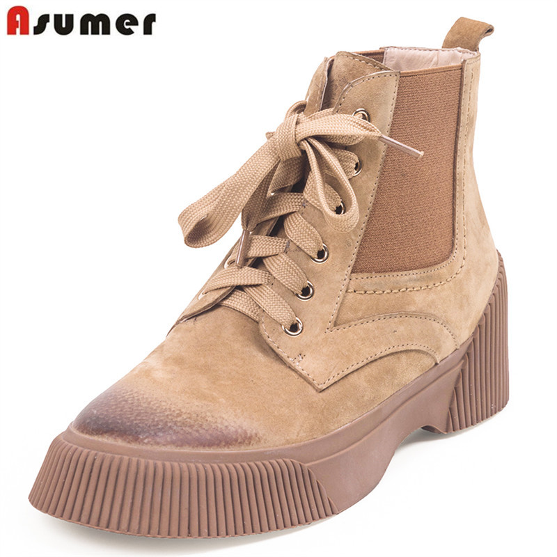 купить ASUMER 2019 hot sale new ankle boots round toe lace up shoes woman genuine leather boots flat platform autumn winter boots women по цене 3871.78 рублей
