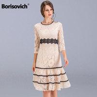 Borisovich New 2018 Spring Fashion Knee length Patchwork Lace Slim Ladies Party Dress Women Casual Dresses Plus Size M 4XL