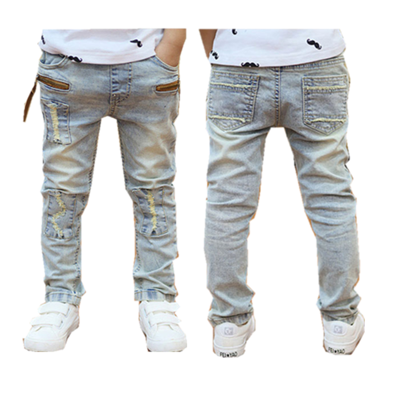 Boys Jeans 2018 Spring Autumn light-colored good quality jeans for boys fashion style children pants 3to 12 years old B131 2017 winter light wash boys jeans for boys solid warm thicken children s jeans boys pants ripped hole children fashion jeans