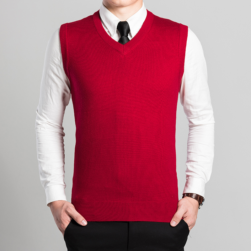 High Quality Men Sleeveless Sweater Business Work Knitting Solid Color Wool Sweater Vest