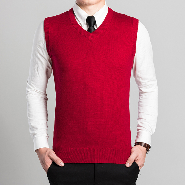 70df974993f83 High quality men sleeveless sweater business work knitting solid color wool  sweater vest