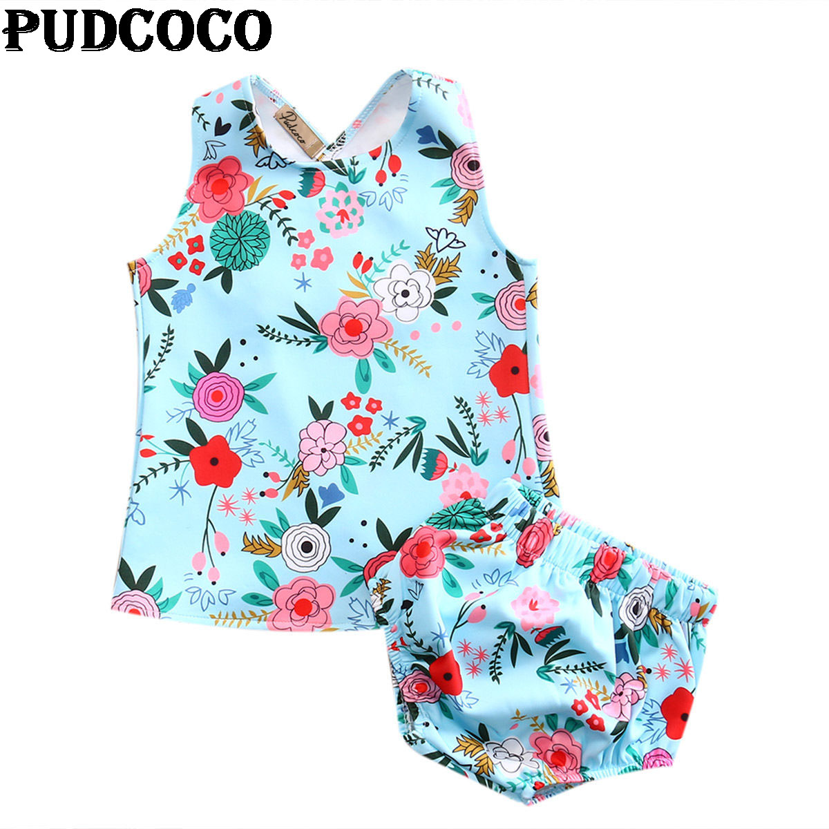 Summer Toddler Baby Girls 2PCS Clothes Fashion Flower Vest  Bottom Newborn Lovely Floral Tops Briefs Outfits Clothing Set