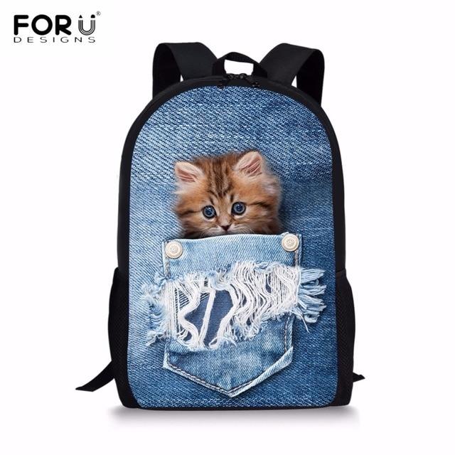 49fe450653 FORUDESIGNS Cute 3D Animal Blue Denim Pocket Cat Kitten Print Kids School  Bags Large Boy