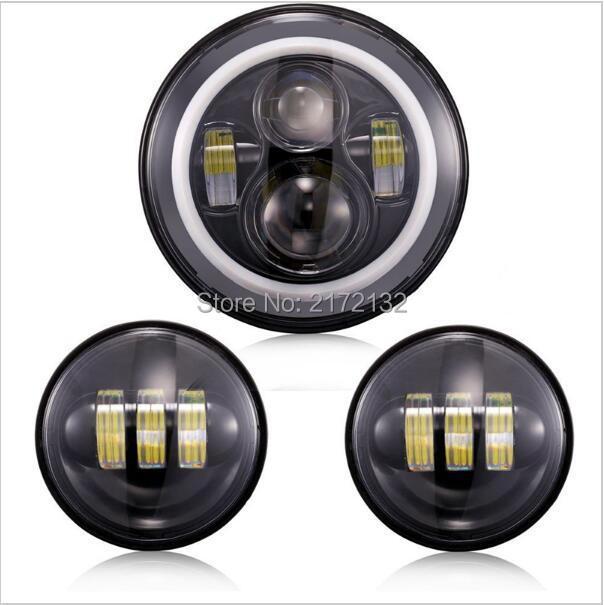 1 Set Hi/LoBeam 7Inch LED Headlight with Angel Eyes and 4.5 Auxiliar Moto LED Passing Lamp Kit for Harley