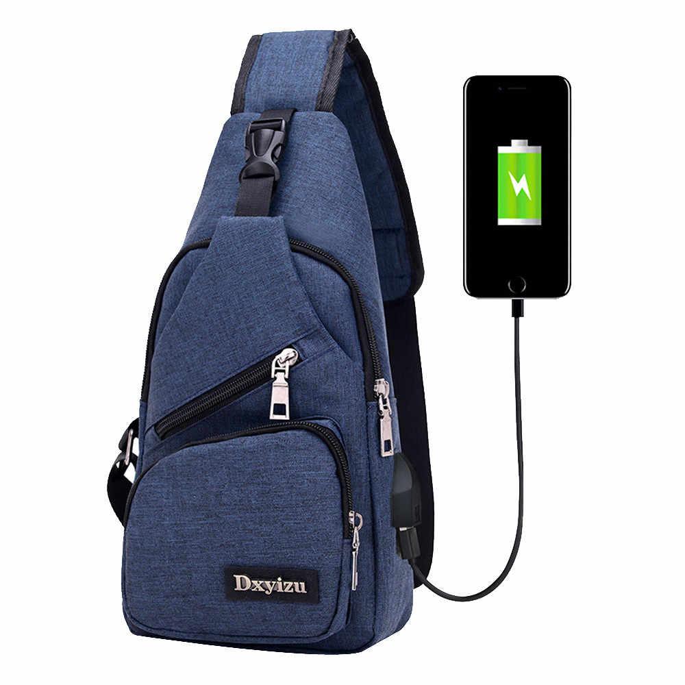 Usb холщовые нагрудные сумки унисекс Бостонская сумка модная мужская Полиэфирная Сумка путешественника нагрудная сумка через плечо с usb зарядкой 2019