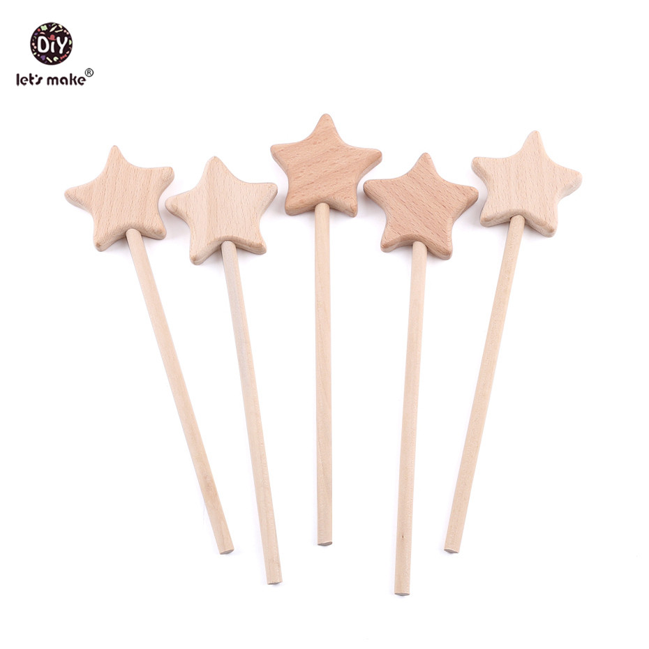 Let's Make 3pc Baby Toys Beech Wooden Star Wooden Magic Wand Wood Teething Rodent Nursing Gifts Montessori Toys Play Gym Rattles