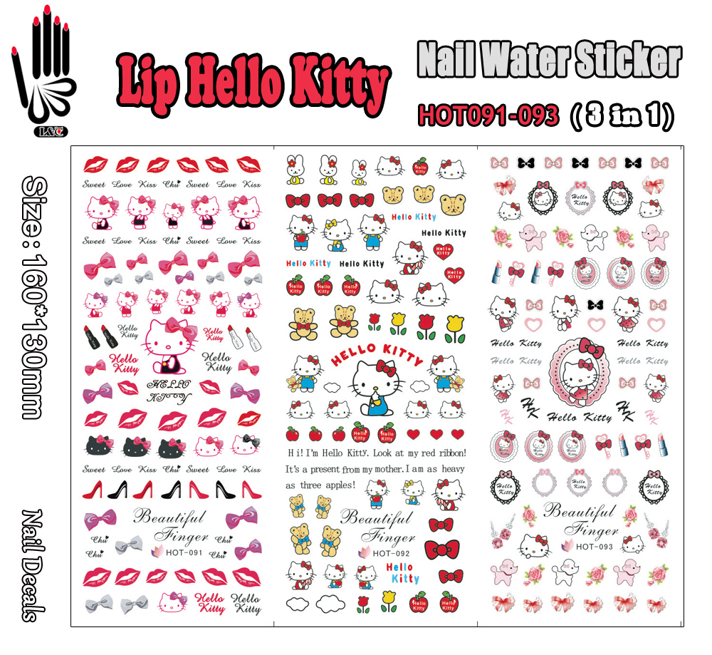 3 Sheets/Lot For Nail HOT091-093 Lip Hello Kitty Nail Art Wrap Water Sticker for Nail Art Decoration (3 DESIGNS IN 1)