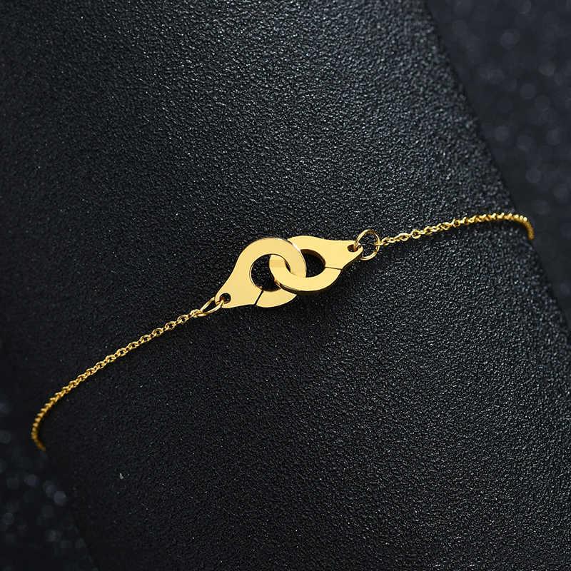 Twórczy złoty kolor kajdanki bransoletki dla kobiet moda komplet ze stali nierdzewnej blokady bransoletki bransoletki przyjaźni