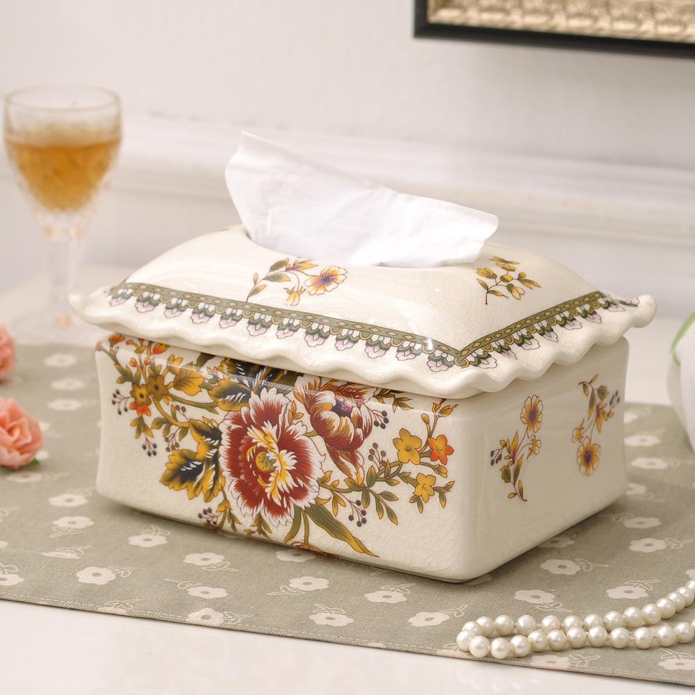 Fournir européen créatif en céramique artisanat boîte papier boîte ameublement en céramique ornements.
