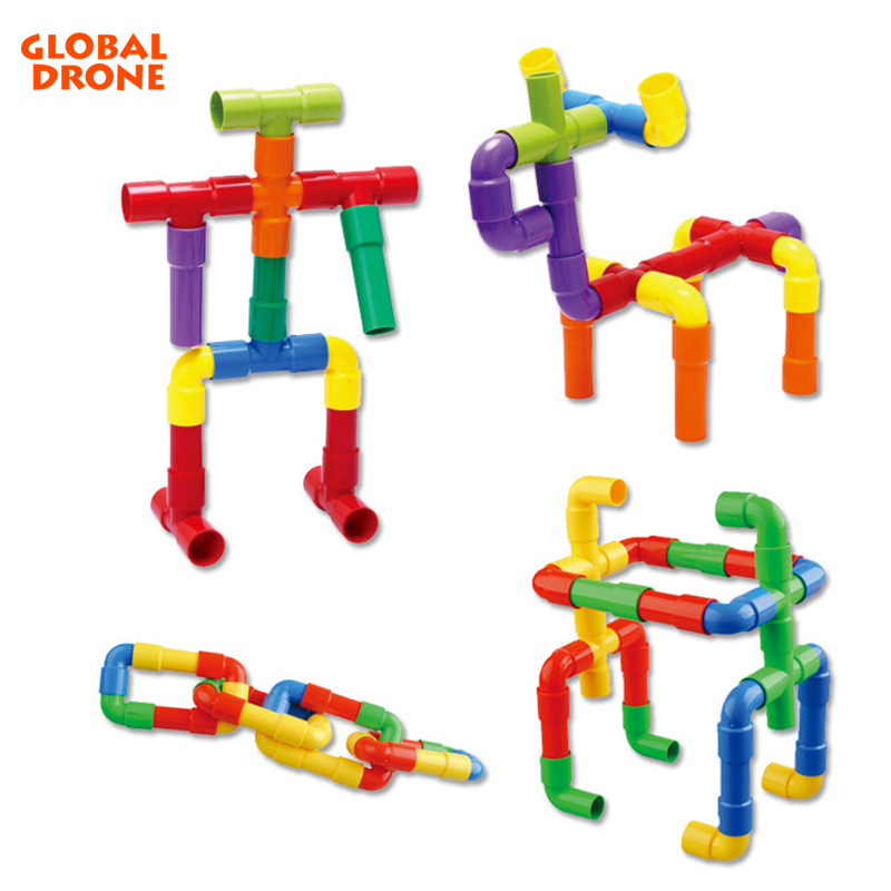 Global Drone 55-60PCS Track Pipes Building Blocks DIY Assembling Pipeline Educational Toy for Children Duploed gd89 drone