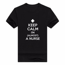 o-neck mens sweaters balck t-shirt femme cheval Nursing Student Gifts Keep Calm I'm Almost a Nurse Short Sleeve Men T-Shirt
