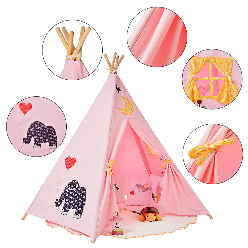 Children Indian Tent Five Wooden Poles Playhouse Teepees Kids Tipi Cotton Canvas Teepee Elephant Printed Play House Baby Room children tipi canvas cotton indian tent kids play house teepee baby game room playhouse boys and girls teepees toy tent page 6