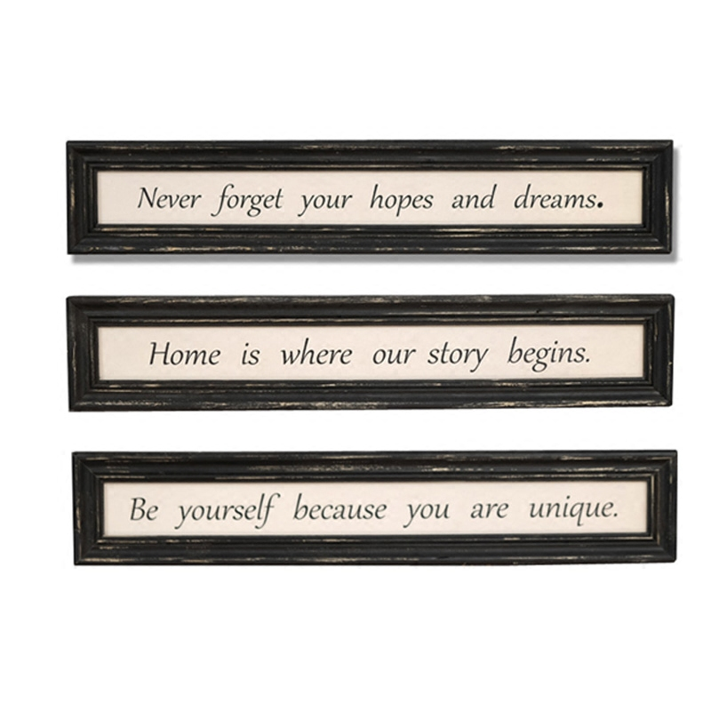 Retro Art Solid Wood English Plate Hanging Painting Famous Quotes Decorative Painting Mural Inspirational Posters Painted