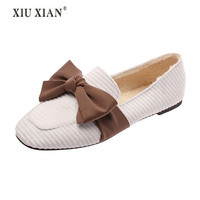2018 Bow Decoration Fashion Women Shoe Women Comfortable Shoe Woman Loafers Woman Loafers Rubber Flock 2 Color Rubber Flatform