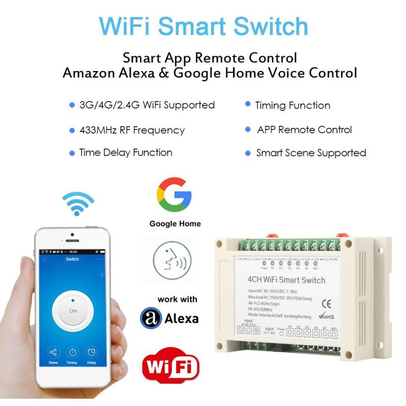 433 MHz RF WiFi Wireless Smart Switch APP Remote Control Work With Amazon Alexa Google Home 4 Channel AC90-250V Smart Switch