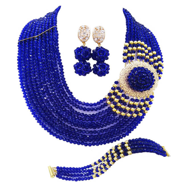 Fashion Royal Blue African Beads Jewelry Set 10DBPH11