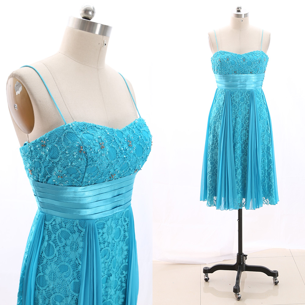 MACloth Blue A-Line Strap Knee-Length Short Beading Lace Prom Dresses Dress XL 266186 Clearance