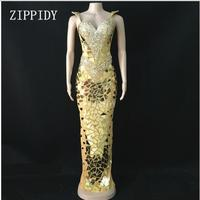 Fashion 3 Colors Bright Sequins Mirrors Dress Women Evening Dresses Rhinestone Costume Prom Celebrate Grey Bling Dresses