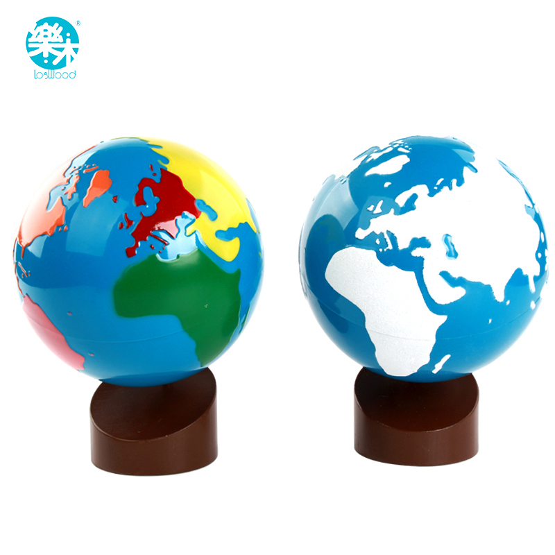 Baby Wooden Montessori Toys World Globes Learning Land Water Baby Early Educational Kids Gifts