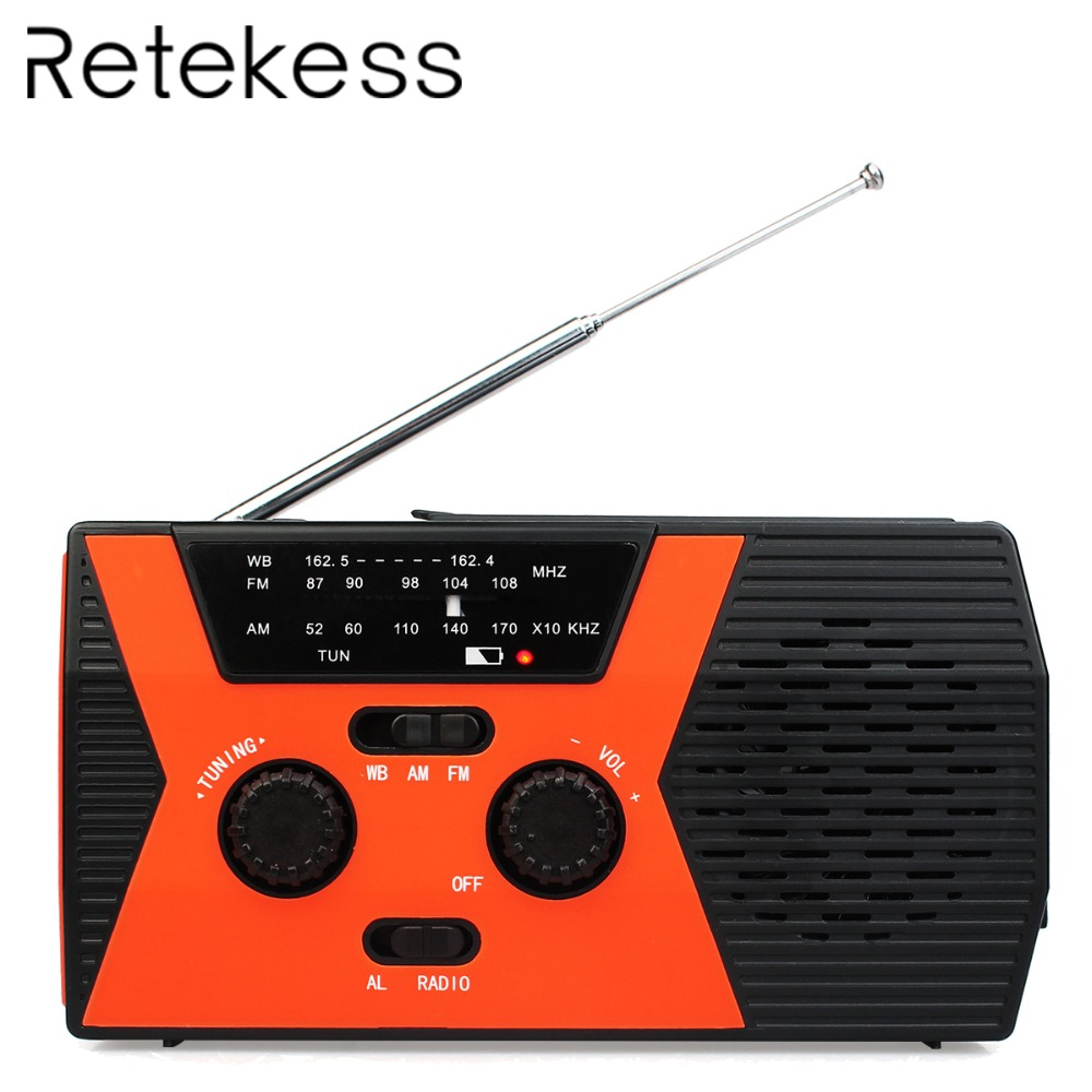 RETEKESS HR12W FM AM NOAA SOS Emergency Radio Weather Report Waterproof LED Lighting Hand Crank Solar Radio Receiver For CampingRETEKESS HR12W FM AM NOAA SOS Emergency Radio Weather Report Waterproof LED Lighting Hand Crank Solar Radio Receiver For Camping