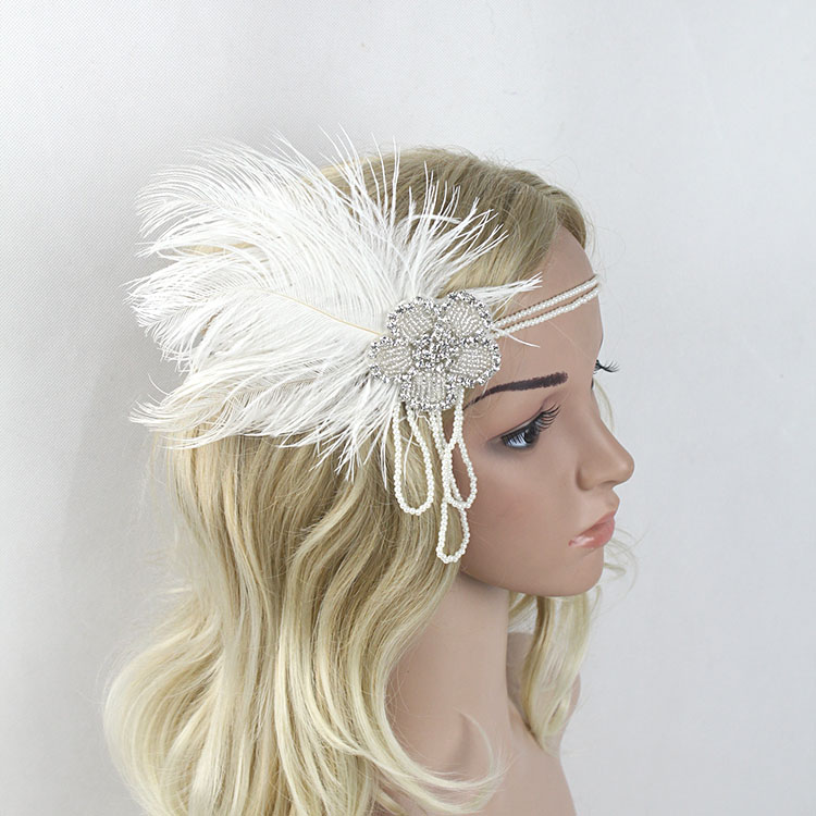 KMVEXO Crystal Chain Pearl Tassels White Feather 1920s Headpiece Flapper Great Gatsby Headband Women Wedding Hair Accessories