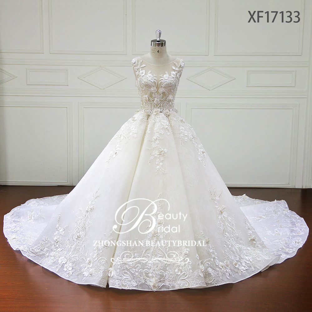 Beauté mariée de luxe pleine fleurs cristal perles robe de mariée robe de bal Train Royal robes de mariée vestidos de novia XF17133