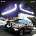 Hireno Супер яркий СВЕТОДИОДНЫМИ Фарами Дневного Света для Hyundai Santa Fe 2013 2014 2015 Автомобиля СИД DRL противотуманный фонарь 2 ШТ.