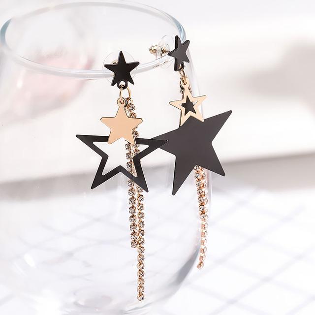 Trendy Metal Dangle Pentagram Long Earrings
