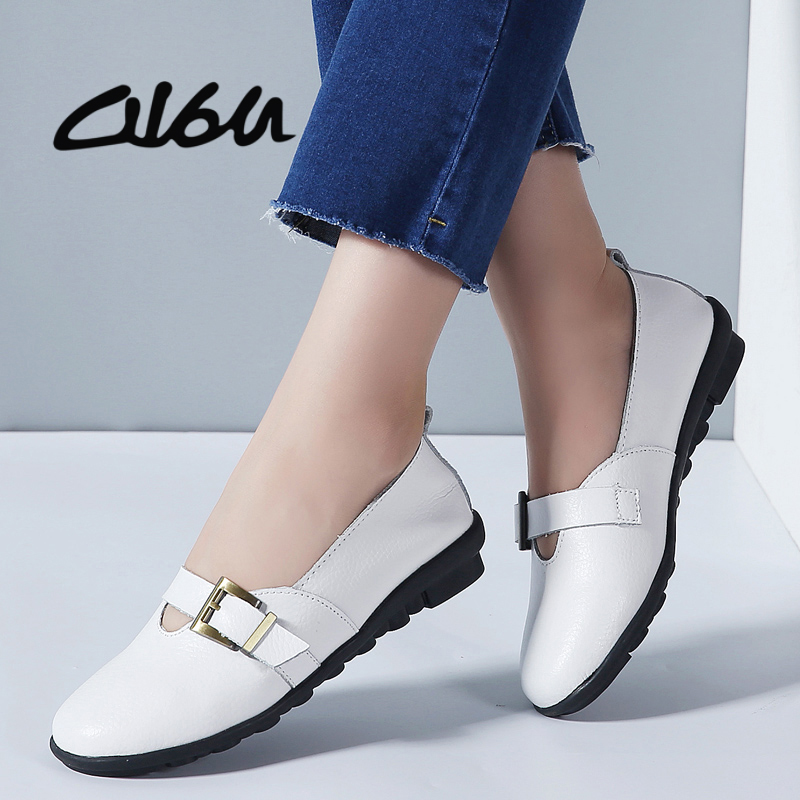 O16U Women Flats Shoes Ballet Flat Genuine   Leather   Buckle Slip on Moccains Casual Shoes Ladies Round Toe Black Loafers Women