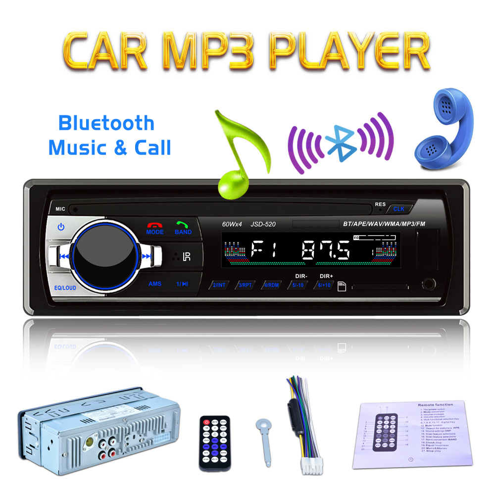 12V In-Dash <font><b>1</b></font> <font><b>Din</b></font> <font><b>Bluetooth</b></font> <font><b>Car</b></font> Stereo FM <font><b>Radio</b></font> Audio <font><b>MP3</b></font> <font><b>Player</b></font> 5V Charger USB <font><b>SD</b></font> AUX-IN Auto Electronics Subwoofer <font><b>Autoradio</b></font> image