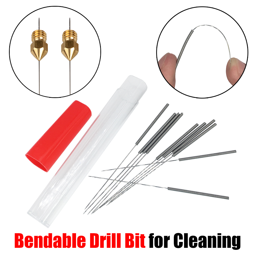 цена на Free Shipping 3D Printer Parts Nozzle Cleaning tool 10pcs Bendable Drill Bit for Cleaning 0.2mm 0.3mm 0.4mm Hotend