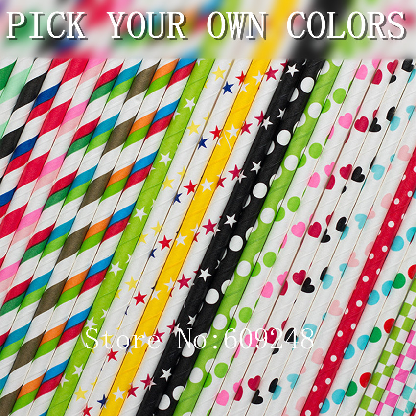 Free DHL 11000 pcs Party Restaurant Paper Straws Wholesale Red Pink Blue Black Gold Silver Striped